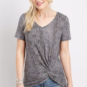Maurices | Gray Snakeskin Knot Front Top | Sz S